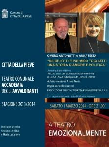 1 marzo Città della Pieve Nilde Iotti Palmiro Togliatti una storia d'amore e di politica